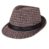 AIEOE - Sombrero Jazz de Copa Disfraz para Hombre Gorro Invierno Cálido con ala Ancha Trilby Hat...
