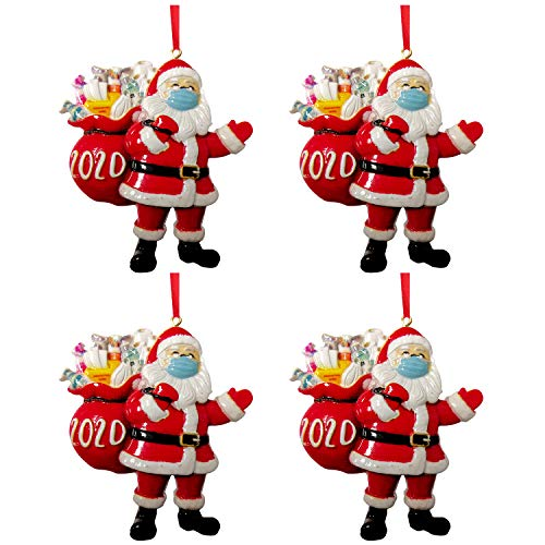 2020 Personalized Christmas Ornaments, Christmas Tree Decorations Pendant, Santa Claus Figurines with Face Mask Decor Indoor (2-Santa Claus)