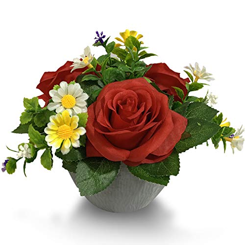 Mixrose Small Fake Plants Artificial Silk Rose Flower Bushel Bouquet in Textured Imitation Wood Pot for Home, Office, Kitchen, Bathroom, Countertop Décor (Scarlet Red)