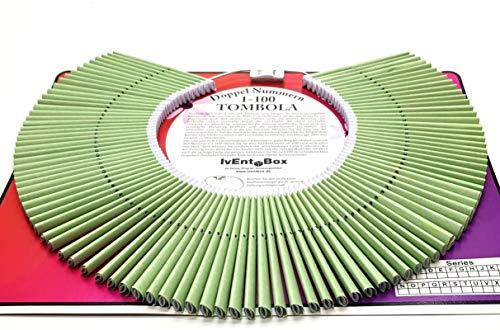 Doppellose am Ring, Farbe grün, 100 Tombola Lose mit Doppelnummern 1-100