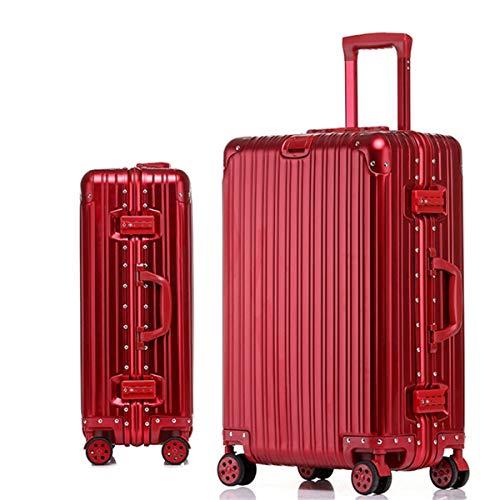 Caja de viaje de aluminio mate engrosado, maleta de aleación, maleta de negocios, caja de bloqueo de metal, tabla de ruedas universal, caja de 20, 24 pulgadas, Rojo (Rojo) - ngsen