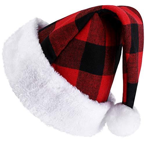 Ruisita 1 Pack Adult Santa Hat Velvet Red Black Plaid for Christmas New Year