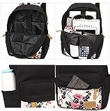 YoungSoul Schultaschen-Sets für Mädchen Jugendliche Canvas Schulrucksack + Lunch-Taschen + Federmäppchen mit Blumenmuster 14 - 5