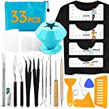 33pcs Weeding Tools for Vinyl T-Shirt Ruler Guide with Scrap Collector Craft Tool Set for Silhouettes, Lettering, Cutting, Splicing