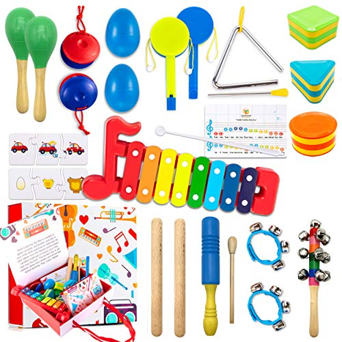 Learning Toy Boxes Toddler Musical Instruments for Kids Band 32 PCS Musical Toys with Gift Box...