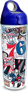 Tervis 1309235 NBA Philadelphia 76ers All Over Insulated Tumbler with Wrap and Blue with Gray Lid 24oz Water Bottle Clear