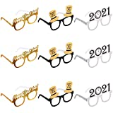 Amosfun Happy New Year Eyeglasses Fancy New Year Party Glasses Celebration Party Favor for 2021 New Year's Eve Party Decors, Pack of 9