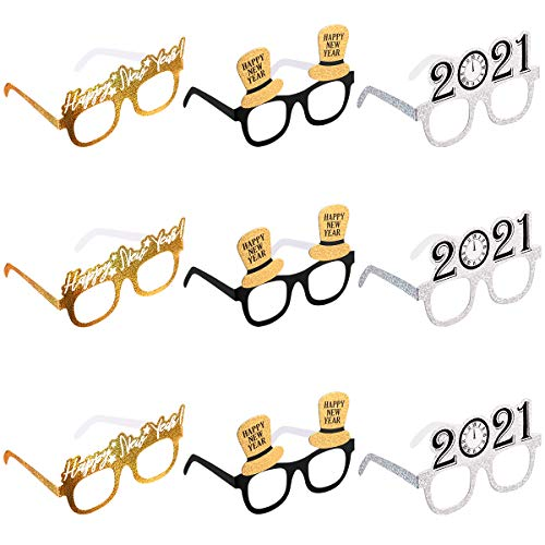 Amosfun Frohes Neues Jahr Brillen Fancy New Year Party Brille Feier Mitbringsel für 2020 Silvester Party Dekore, 9er Pack