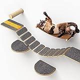 Nelix Katzenkletterwand | Kratzbaum 2.0 für Katzen | Kletterwand aus Echtholz | Katzentreppe Katzenmöbel Hängematte (5-Teilig)