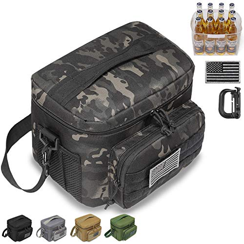 DBTAC Tactical Lunch Bag, Large Insulated Lunch Box for Men Women Adult | Durable School Lunch Pail for Kids | Leakproof Lunch Cooler Tote for Work Office Travel | Soft Easy-Clean Liner x2, Black Camo
