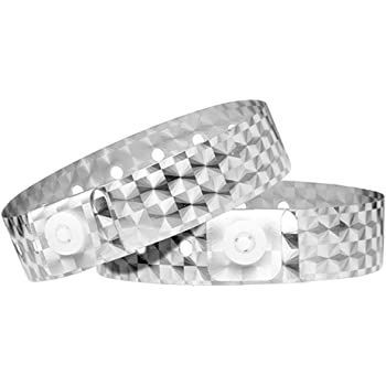 Ouchan Holographic Plastic Wristbands Sliver - 100 Pack Vinyl Wristbands for Events Parties