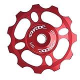 Dilwe Rueda de Guía de Bicicleta Aleación de AluminioDesviador Trasero de Bicicleta Desplazador Trasero de Rueda Polea de Cambio Accesorios para Bicicleta 11T(Rojo)