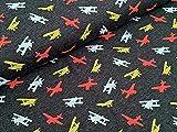 Baumwolljersey Flugzeuge auf Grau Meliert Stoff Meterware