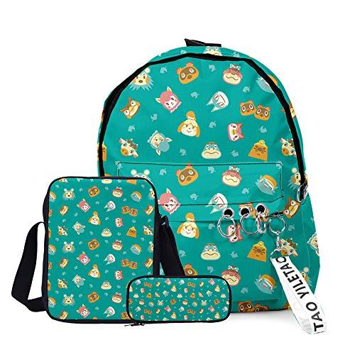Animal Crossing New Horizons Lot de 3 sacs à dos décole légers pour adolescents garçons filles - Vert - Vert,
