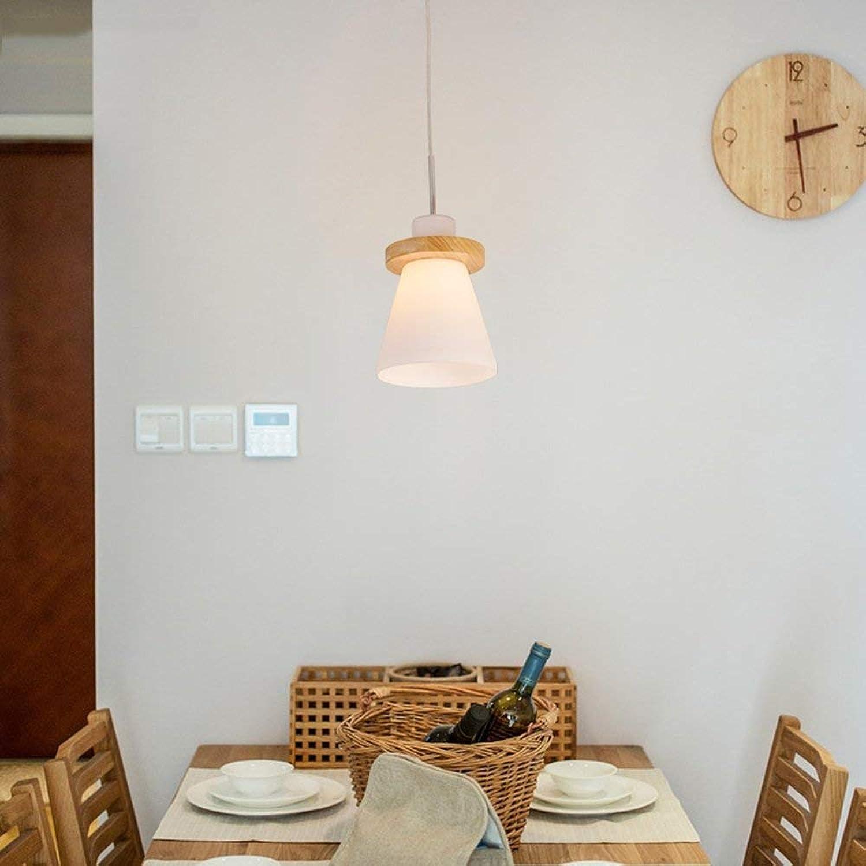 YSA Conduit Simple Moderne Lustre en Bois Massif Simple tête 3 tête Restaurant lumières Boutique Journal E27 Nordique 600mm (Taille  1 tête)