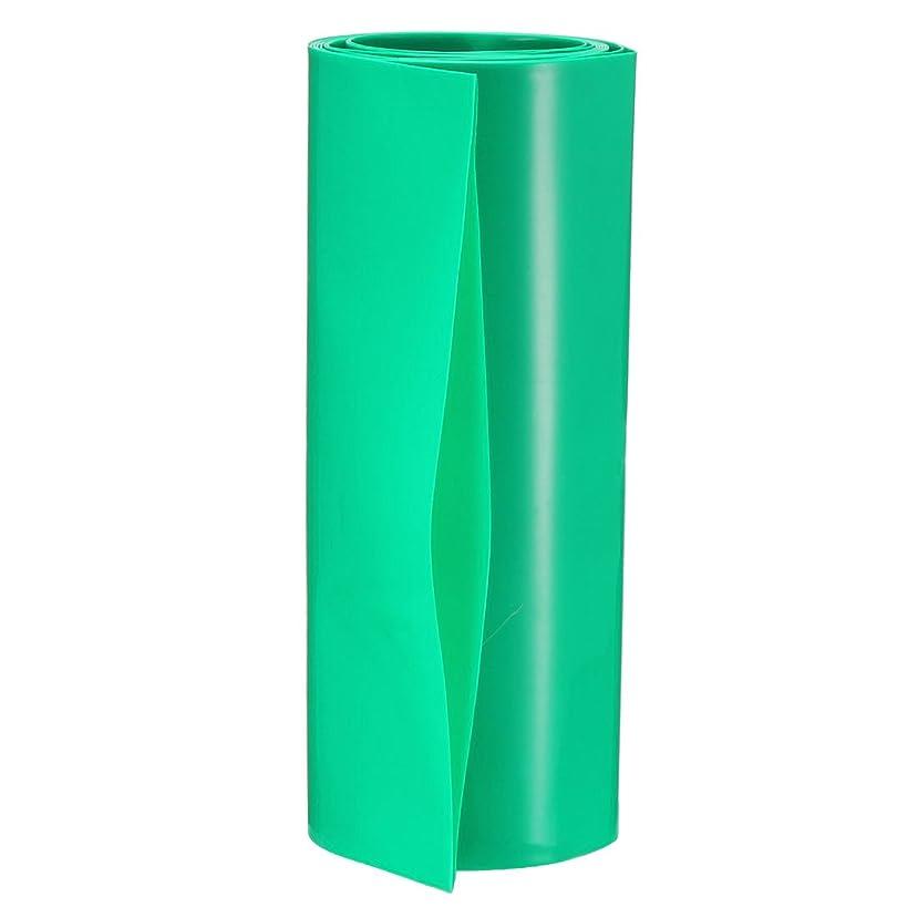 石鹸縞模様のアライメントuxcell PVC熱収縮チューブ バッテリーラップ 幅103メートルm 長さ1M 二重18650シュリンクフィルム用 グリーン