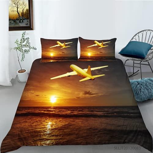 3D Flugzeug Bettwäsche Set Luftfahrt Thema Reißverschluss Bettbezug Mit Kissenbezug, Blau 3D Print Mikrofaser Luxuriöse Tagesdecke Für Einzelbetten Doppelbett König (Muster 4#,135x200/50x75cmx1)