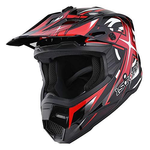 Product Image 3: 1Storm Motocross Adult Helmet BMX MX ATV Dirt Bike Helmet Racing Red + Goggles + Skeleton Red Glove Bundle