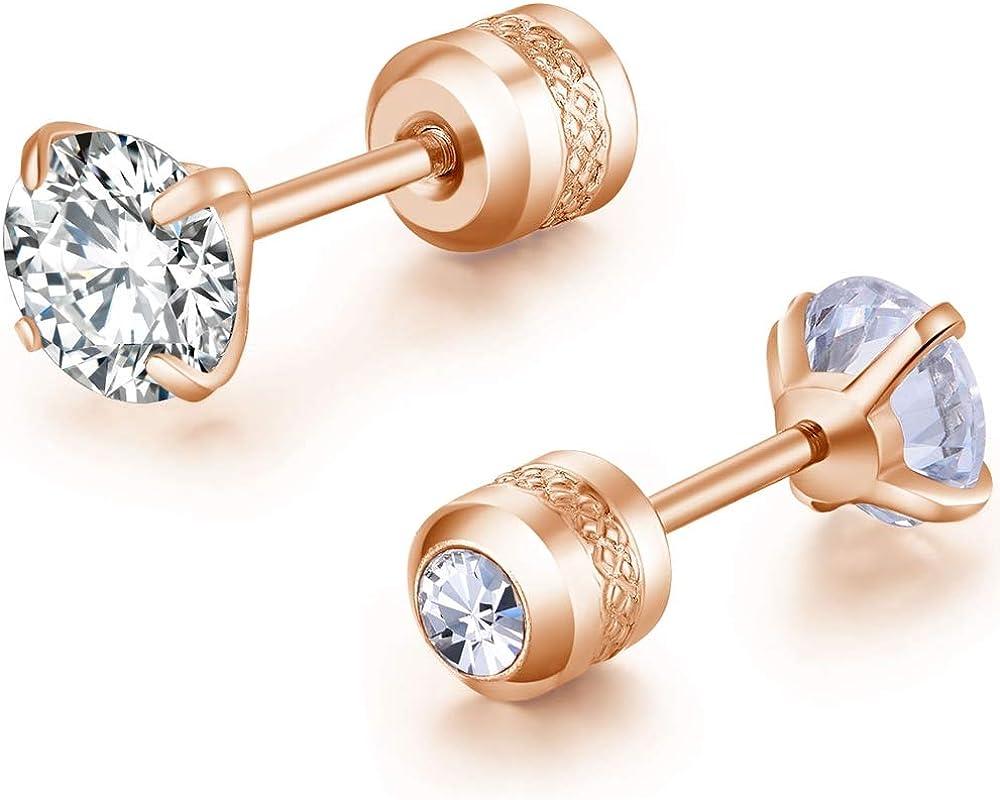 Stainless Steel Small Size Cubic Zircon Screw Back Stud Earrings