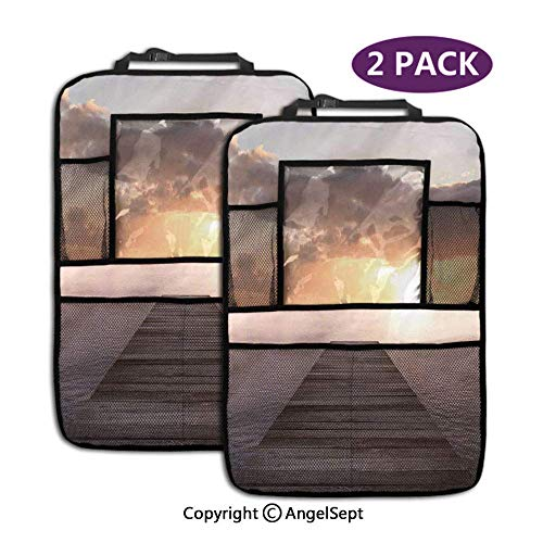 Organisateur de siège arrière de voiture, coucher de soleil depuis le vieux pont de jetée en bois au-dessus des nuages d'horizon de la mer, par Brown, poches de rangement, siège arrière (2 pièces)