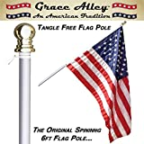 Flag Pole: Best Tangle Free Spinning Flagpole on Amazon! Residential or Commercial 6ft Flag Pole. for Prime Members. Aluminum Spinning Flag Pole 6 Foot Brushed Aluminum. Wind Resistant / Rust Free. 1 Year No Hassle Warranty.