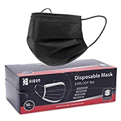 Package: 50 Pcs black disposable face mask packaged in a box 3-ply design, with a melt-blown polypropylene filtration layer. How to use: Remember 1. Keep the black-side outside 2.Keep the nose clip on the upper side. You won't be wrong.