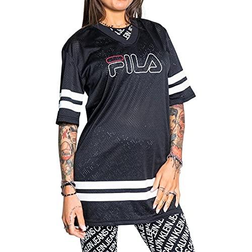 Fila JALA Oversized Sporty Mesh Vestido de Camiseta, Negro, S para Mujer