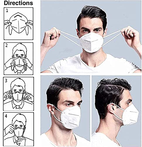 Zaicus Kn95 Mask Pack of 10 | Anti Pollution | Breathable | Resuable Washable 5 Layer Face Mask Free Size For Men & Women (White)