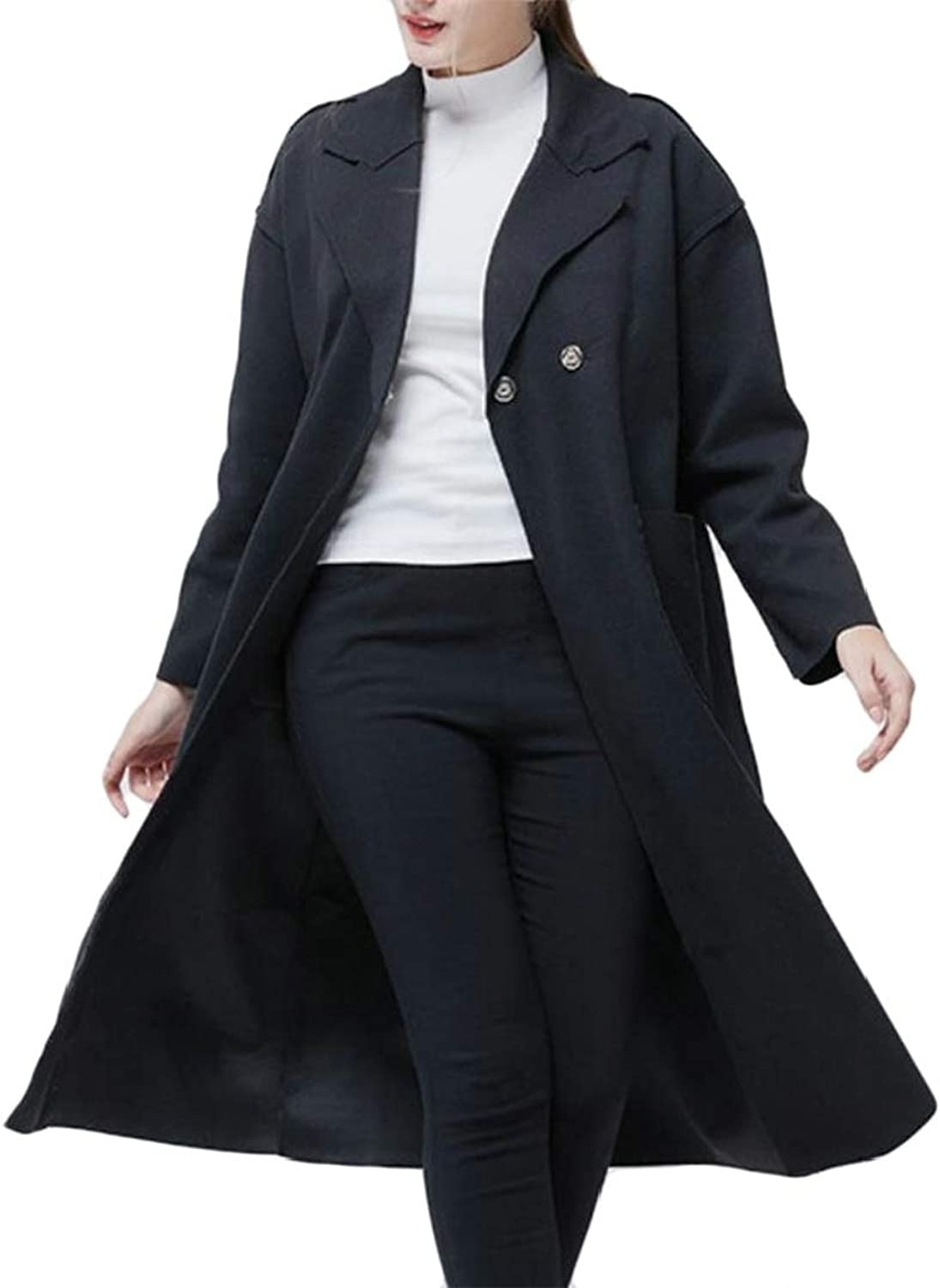 Wofupowga Women MidLength Lapel Belted Autumn Winter Thermal Trench Coat Woolen Outerwear