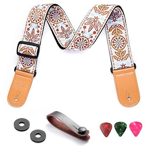 WINGO Gitarrengurt I Guitar Strap für E-Gitarre, Akustikgitarre, Westerngitarre, & Bass (Vintage)-- Lederenden, 3 Plektren, Strap Bundle.