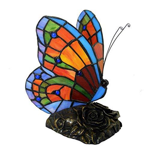 DIMPLEYA Lámpara de Mesa Estilo de Tiffany Resina Vidrio Pintado Patrón de Mariposa 20 * 13 * 22 cm
