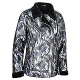 Majamo - Chaqueta de camuflaje para mujer, chaqueta de invierno forrada con estampado de camuflaje, chaqueta corta de entretiempo para otoño, 2 colores S-XXL 36-54 azul 56
