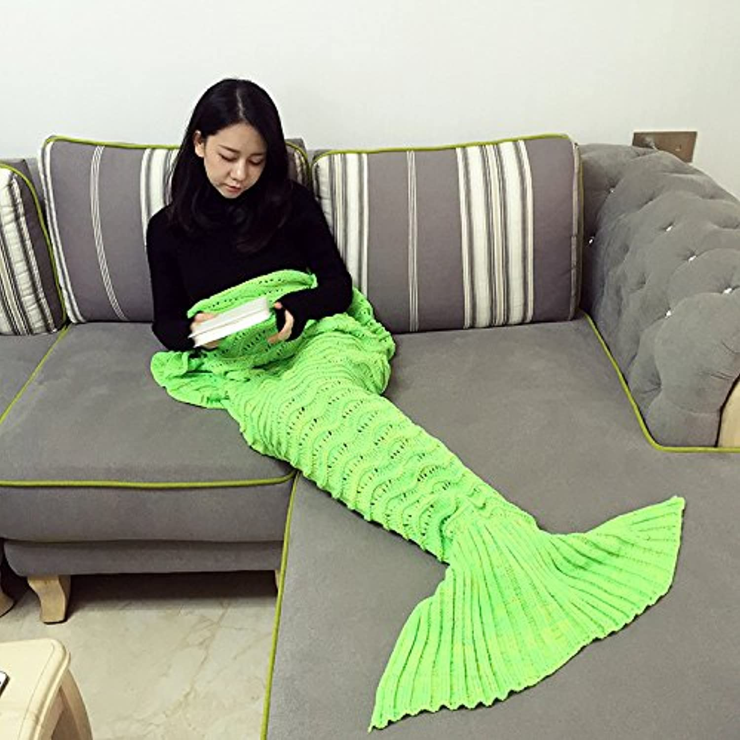 Zhiyu Crochet Mermaid Tail Blanket for Adult, 74-Inch-by-35-Inch, Mint Green (Light Green)