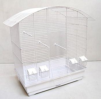 Cage à oiseaux Ula, cage à oiseaux avec accessoires, Blanc