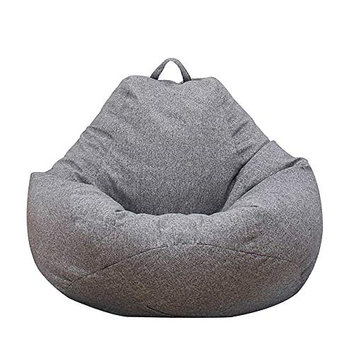 Iraza Puff Funda de Bean Bag (Sin Relleno) Funda para Sillón Puff Funda de Puf Grande Kit de Sillónes de Hinchables de Adulto Infantil para Sala Dormir para Adultos y Niños (Gris, 100 * 120CM)