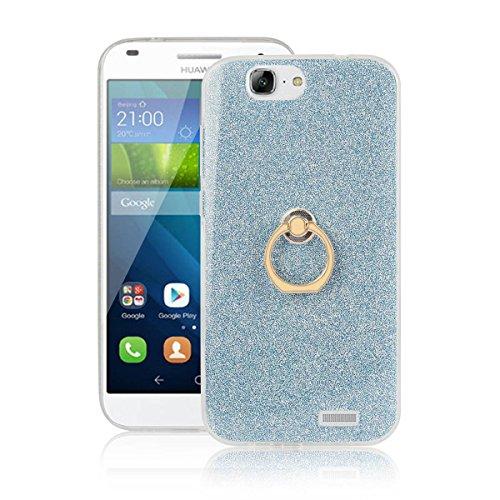 pinlu® Etui Schutzhülle Für Huawei Ascend G7 (5.5zoll) Soft Silikon TPU Ultra Thin Protective Cover Glitzer Rück mit Abnehmbarer Boden Skin & Ring-Schnalle Design Blau