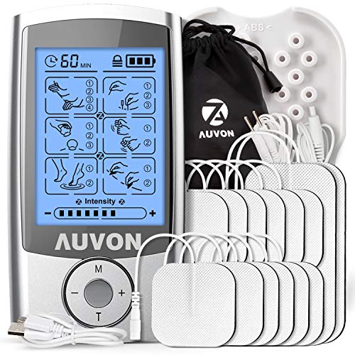 AUVON Rechargeable TENS Unit Muscle Stimulator (Famliy Pack), 3rd Gen TENS Machine with 16 Preset Modes, Pads Holder, 12pcs 2'x2' and 2pcs 2'x4' Electrode Pads (Gel Made in USA)