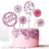 Set Happy Birthday Topper per Torte Ventagli di Carta Coriandoli Palloncino Cupcake Acrilico Topper per Decorazione Torta di Compleanno (Rosa)