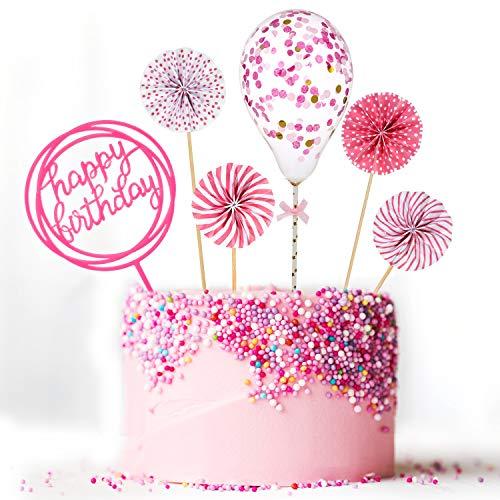 Maitys Alles Gute zum Geburtstag Kuchen Topper Set Papierfächer Konfetti Ballon Acryl Cupcake Topper für Geburtstagstorte Dekoration (Rosa)