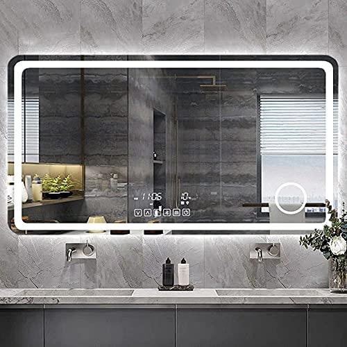 FHISD Espejo de baño LED montado en la pared Pantalla táctil espejo de maquillaje inteligente con luz lupa 3X Pantalla de tiempo y temperatura Bluetooth Anti-niebla iluminación maquillaje espejo