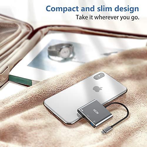 ICZI USB C HDMI 4K Adapter mit USB 3.0 Anschlüsse und Typ C PD 100W Ladeanschluss 3 in 1 Aluminium USB C Hub für MacBook Pro, iPad Pro 2018, Chromebook Pixel und mehr USB C Geräte (Dunkelgrau)