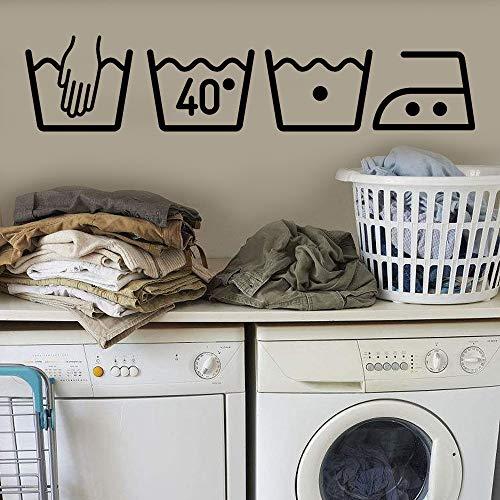 Waschmaschine Logo Wandaufkleber für Waschküche Badezimmer Wasserdicht Entfernbare Wandtattoos Wandbilder Sticker