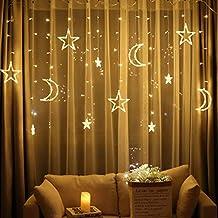 2.5m Star Curtain Light Moon Lighting String For Indoor Outdoor Decoration - EU Plug