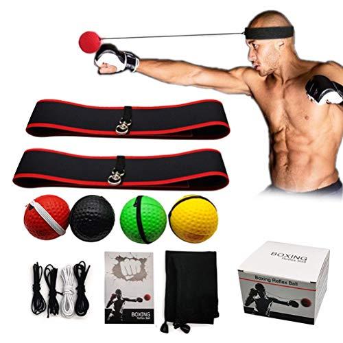 Box-Reflex-Ball-Set, Box-Trainingsball mit 2 Stirnbändern und 4 Reaktions-Reflex-Bällen für Reflex-Timing-Genauigkeit, Fokus und Hand-Augen-Koordinationstraining
