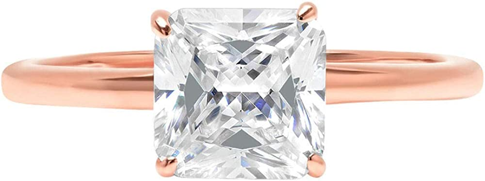 1.4ct Brilliant Asscher Cut Solitaire Stunning Genuine Lab Created White Sapphire Ideal VVS1 D 4-Prong Engagement Wedding Bridal Promise Anniversary Ring Solid 14k Rose Gold for Women