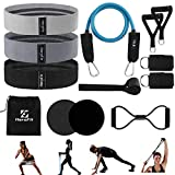 HaroFit Fabric Resistance Bands Set - Booty Bands Glute Bands for Working Out with 15LB Exercise Bands Figure 8 Fitness Bands Door Anchor Handles Ankle Straps 2 Core Sliders,Set of 13 for Home Fitness