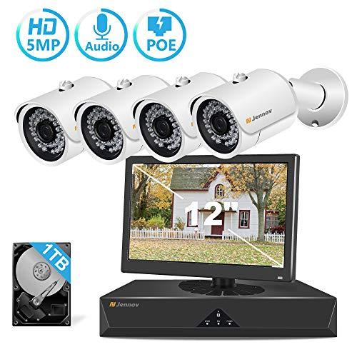 [Audio+Video] 5MP POE Überwachungskamera Set mit 12 Zoll Monitor, Jennov DVR Videoüberwachung System mit Mikrofon 1TB Festplatte 2560x1920P 4CH NVR Recorder 4PCS 5MP Sicherheit IP-Kamera Außen/Innen