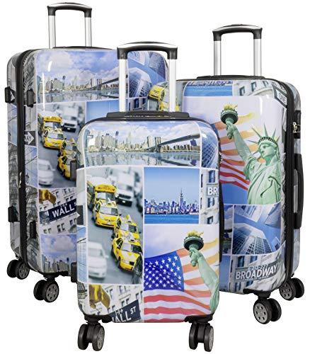 Trendyshop365 Hartschalen Koffer-Set 3-teilig mit Motiv Bedruckt - New York USA - 4 Rollen Städtemotiv