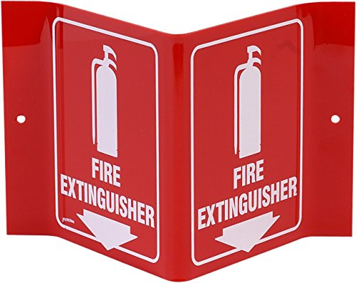 Brady V Sign 'Fire Extinguisher' with Picto - White on Red, Acrylic, 6' Height, 9' Width - 49377 - V1FE15A