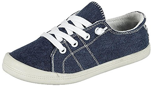 Forever Link Women's Classic Slip-On Comfort-01 Blue Fashion Sneakers (8.5)